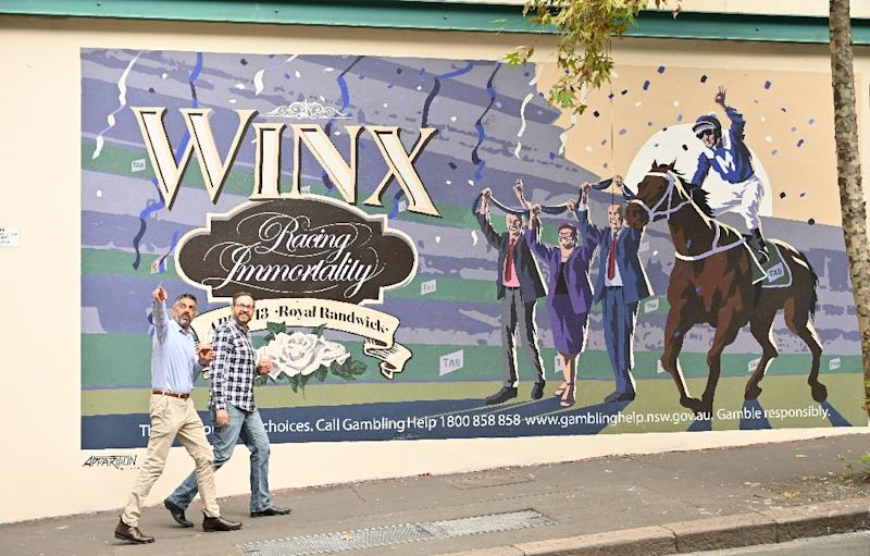 """Such is her legend that Winx has become more than just a horse in Australia, with the Sydney Morning Herald calling her """"perfection on four legs"""" (AFP Photo/PETER PARKS)"""