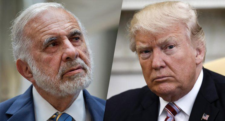 Billionaire activist investor Carl Icahn, left and President Trump.