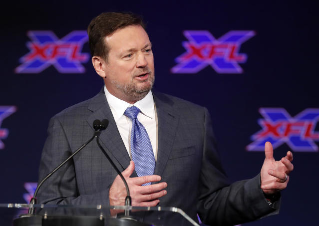 Bob Stoops speaks after being introduced as the new head coach and general manager of the XFL Dallas football team during a news conference in Arlington, Texas, Thursday, Feb. 7, 2019. (AP Photo/Tony Gutierrez)
