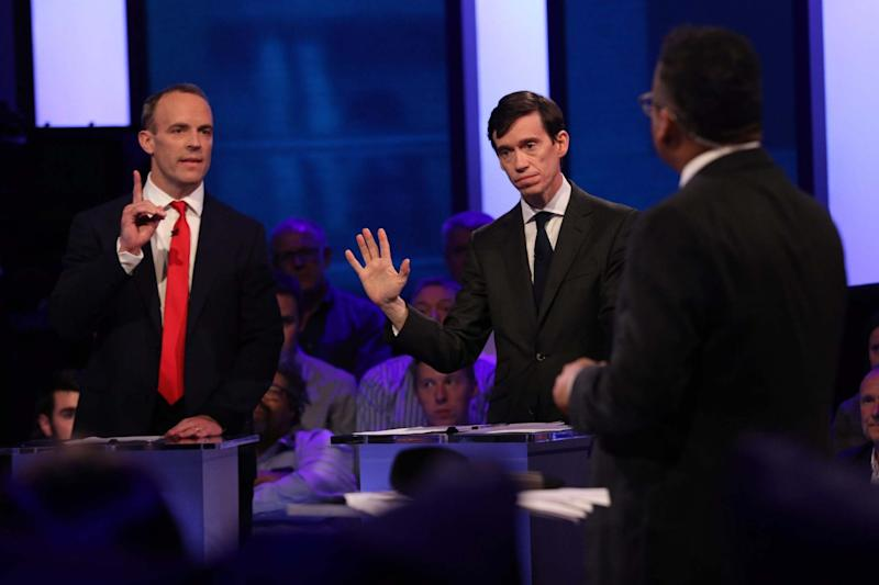 Tory MPs complained at Channel 4's treatment of Dominic Raab, left (Channel 4/EPA)
