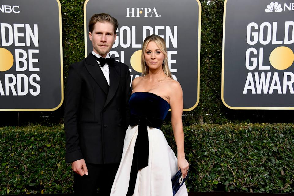 Kaley Cuoco has recently announced she is moving in with her husband after two years of marriage. Pictured here at the Golden Globes 2020. (Getty Images)