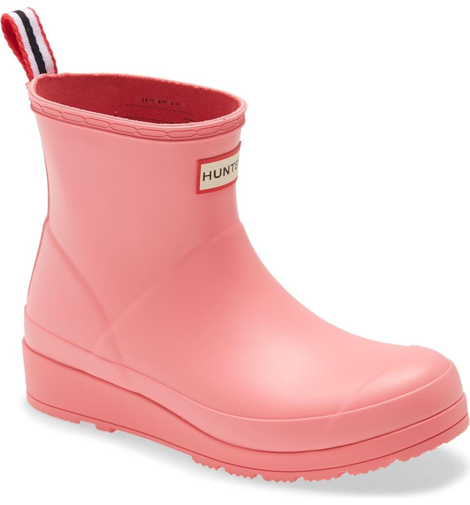 <p>If you're looking for fun boot, you can't go wrong with these vibrant <span>Hunter Original Play Waterproof Rain Booties</span> ($95). How cute is the pink?</p>