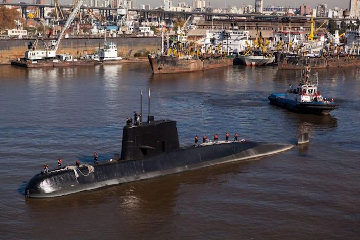 Submarine ARASan Juan will navigate for an expedition after compensation for a midlife upgrade at Tandanor shypyard in Buenos Aires, Argentina on June 2, 2014.
