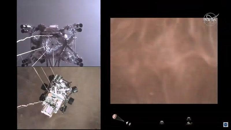 Three views of Perseverance's landing on Mars: at top left, a camera on the rover is looking up at its rocket-powered descent vehicle, which is in the process of lowering the rover to the surface. At bottom left, a camera on the