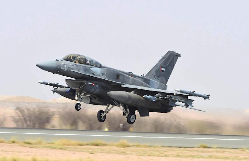A handout file photo released on April 4, 2015 by the UAE news agency WAM shows an Emirati F-16 fighter jet taking off before raids against Huthi rebels in Yemen (AFP Photo/HO)