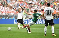<p>Hirving Lozano of Mexico scores his team's first goal during the 2018 FIFA World Cup Russia group F match between Germany and Mexico at Luzhniki Stadium on June 17, 2018 in Moscow, Russia. (Photo by Dan Mullan/Getty Images) </p>