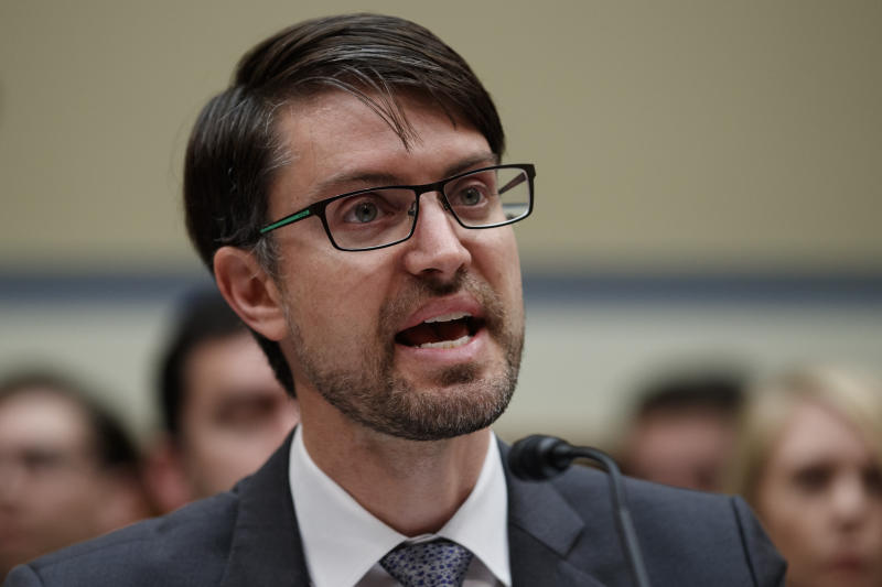 """Facebook head of cybersecurity policy Nathaniel Gleicher testifies on Capitol Hill in Washington, Wednesday, May 22, 2019, during the House Oversight and Reform National Security subcommittee hearing on """"Securing U.S. Election Infrastructure and Protecting Political Discourse."""" (AP Photo/Carolyn Kaster)"""