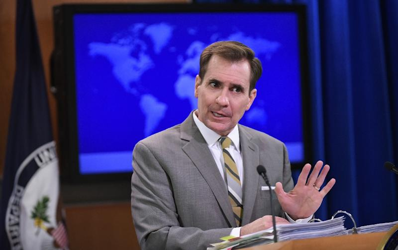 State Department Spokesman John Kirby pictured at the State Department on January 6, 2015 in Washington, DC