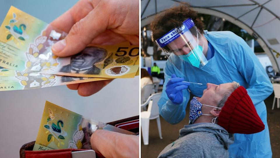Close up of hands holding wallet, Australian Cash. Woman receives COVID-19 nasal swab in Sydney.