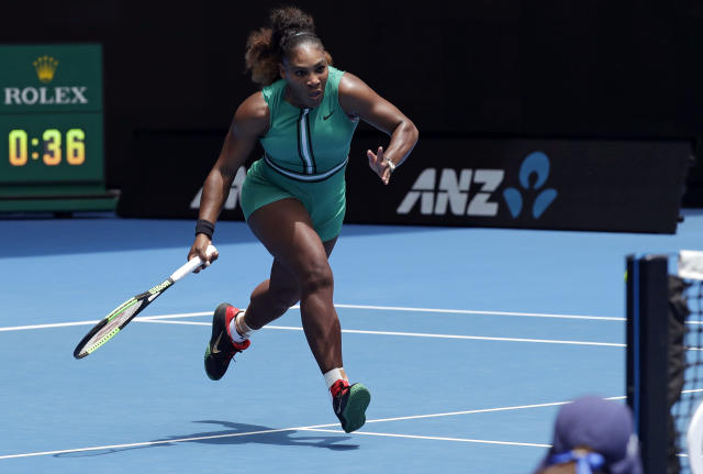 "<a class=""link rapid-noclick-resp"" href=""/olympics/rio-2016/a/1132744/"" data-ylk=""slk:Serena Williams"">Serena Williams</a> and <a class=""link rapid-noclick-resp"" href=""/olympics/rio-2016/a/1221919/"" data-ylk=""slk:Roger Federer"">Roger Federer</a> each made it through the first round of the Australian Open on Monday, extending their winning streaks at Melbourne Park. (AP Photo/Kin Cheung)"