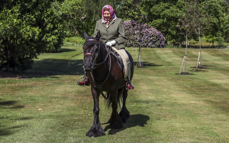 The Queen was seen riding in Windsor Home Park over the weekend - Steve Parsons/PA Wire