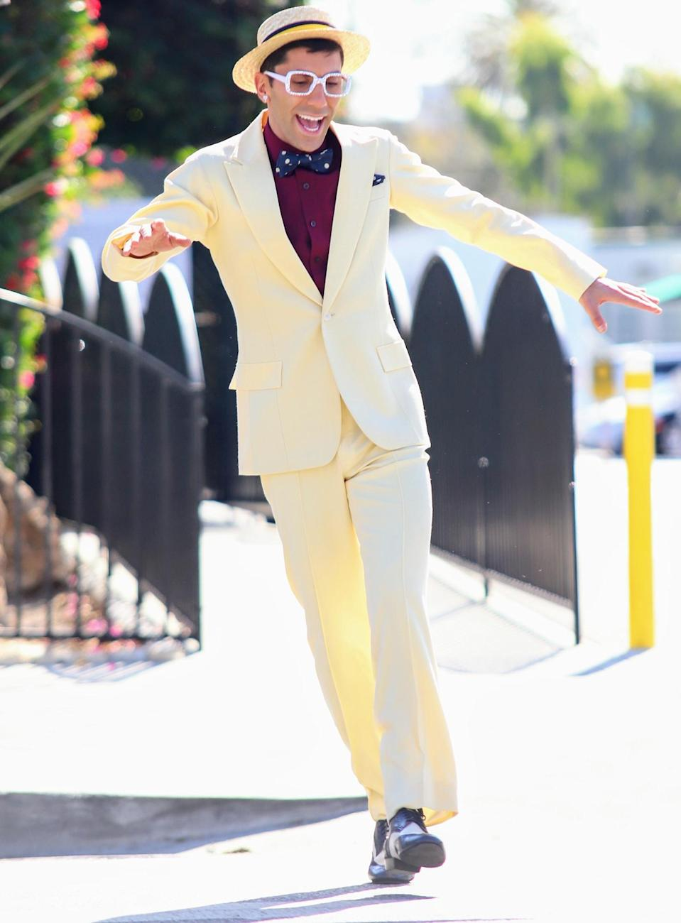 <p>Nev Shulman dances in the street on Monday in L.A. as the end of his <i>Dancing with the Stars</i> season approaches. </p>