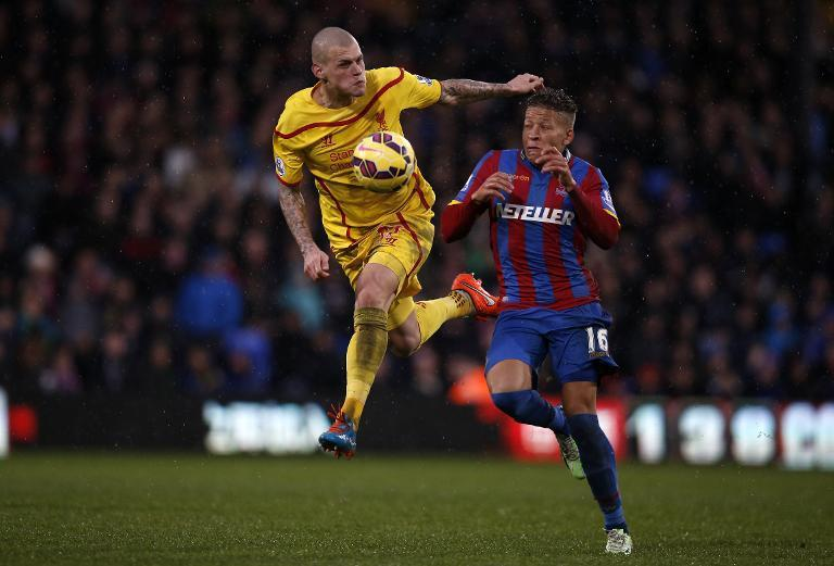 Crystal Palace's Dwight Gayle (R) and Liverpool's Martin Skrtel during their premier League match at Selhurst Park on November 23, 2014 (AFP Photo/Adrian Dennis)