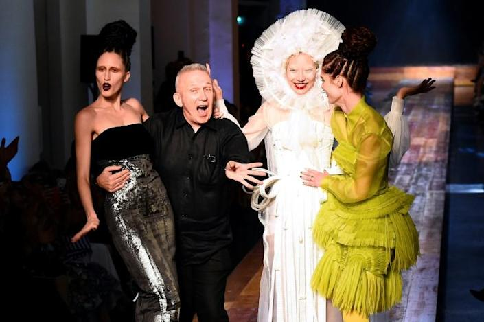 Showman: Gaultier with his models at a Paris show in 2016 (AFP Photo/BERTRAND GUAY)