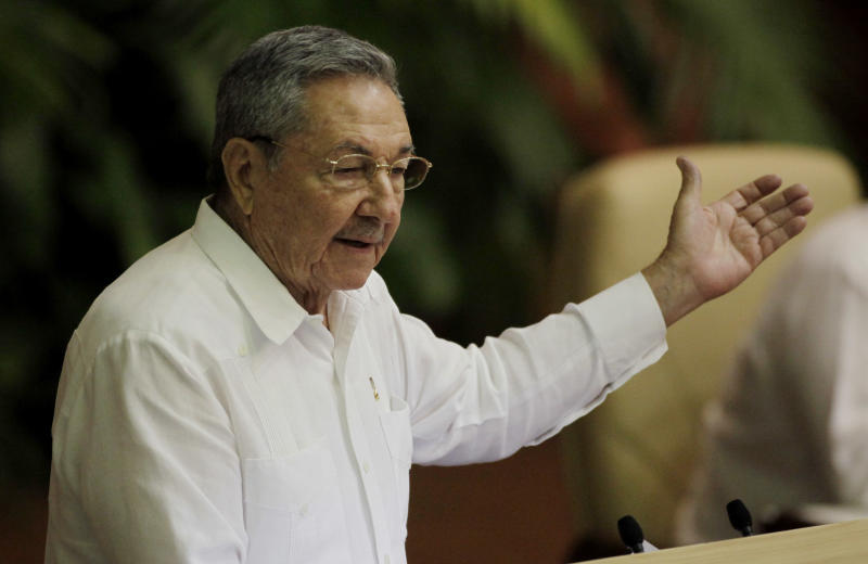 Cuba's President Raul Castro speaks during the 6th Communist Party Congress in Havana, Cuba, Tuesday April 19, 2011. Castro was named first secretary of Cuba's Communist Party on Tuesday, with his brother Fidel Castro not included in the leadership for the first time since the party's creation 46 years ago. (AP Photo/Javier Galeano)