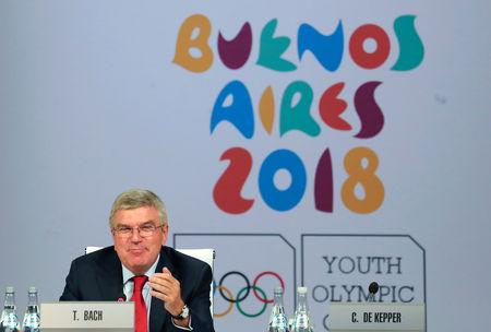IOC President Bach gestures as he speaks the 133rd IOC session in Buenos Aires