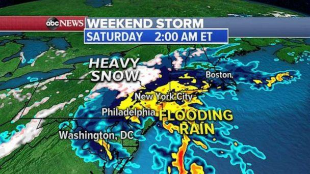 PHOTO: a major storm system is developing in the South and it is expected to swing north and east bringing flooding rain to the I-95 corridor and more than a foot of snow for inland Northeast.  (ABC News)