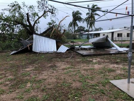 A view of the aftermath of Cyclone Nora is seen after it struck Pormpuraaw, Queensland, Australia, in this picture obtained from social media March 25, 2018. Liam Hartley/via REUTERS