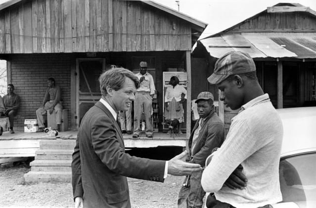 <p>Sen. Robert F. Kennedy during his tour of the Mississippi Delta, April 11, 1967. (Photo: Jack Thornell/AP) </p>