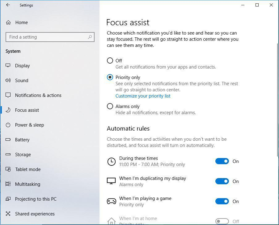 Focus Assist blocks the intrusion of notifications under conditions that you specify.