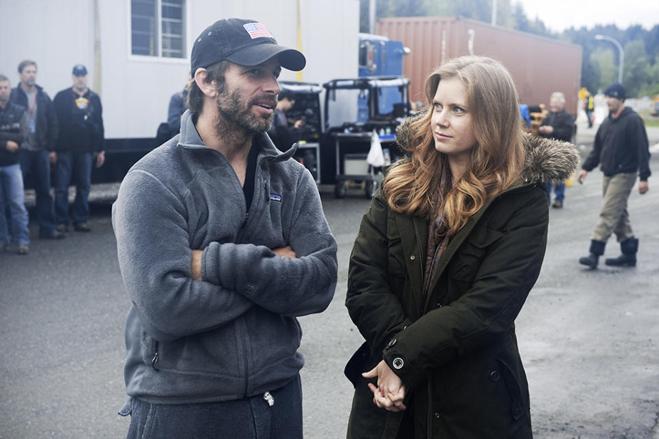 """Director Zack Snyder and Amy Adams on the set of Warner Bros. Pictures' """"Man of Steel"""" - 2013"""