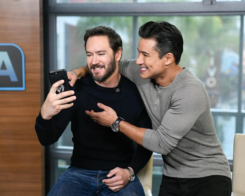 "UNIVERSAL CITY, CALIFORNIA - JANUARY 16: Mark-Paul Gosselaar and Mario Lopez visit ""Extra"" at Universal Studios Hollywood on January 16, 2019 in Universal City, California. (Photo by Noel Vasquez/Getty Images)"