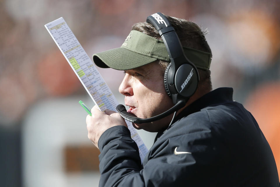 New Orleans Saints head coach Sean Payton works the sidelines in the first half of an NFL football game against the Cincinnati Bengals, Sunday, Nov. 11, 2018, in Cincinnati. (AP Photo/Gary Landers)