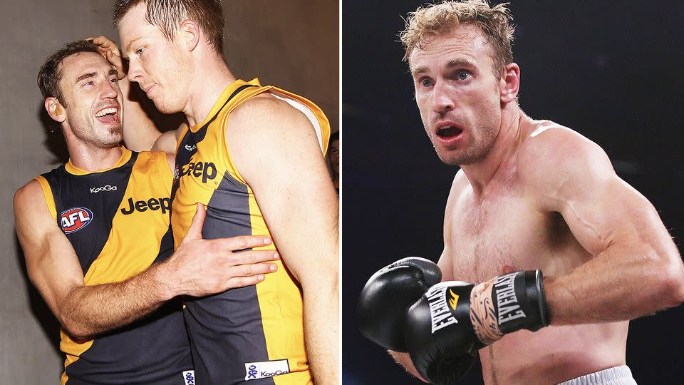 Shane Tuck is pictured here during his AFL career and later, his stint in boxing.
