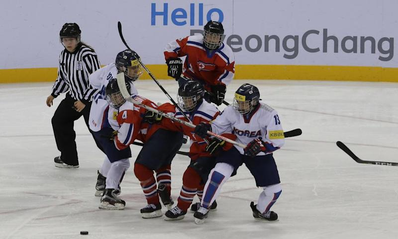 South Korea (in white) against North Korea (in red) in an International Ice Hockey Federation Women's World Championship group match in 2017