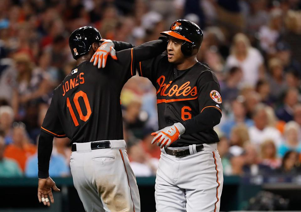 Baltimore Orioles second baseman Jonathan Schoop (6) celebrates his two-run home run against the Detroit Tigers with Adam Jones during the sixth inning of a baseball game in Detroit, Friday, Sept. 9, 2016.
