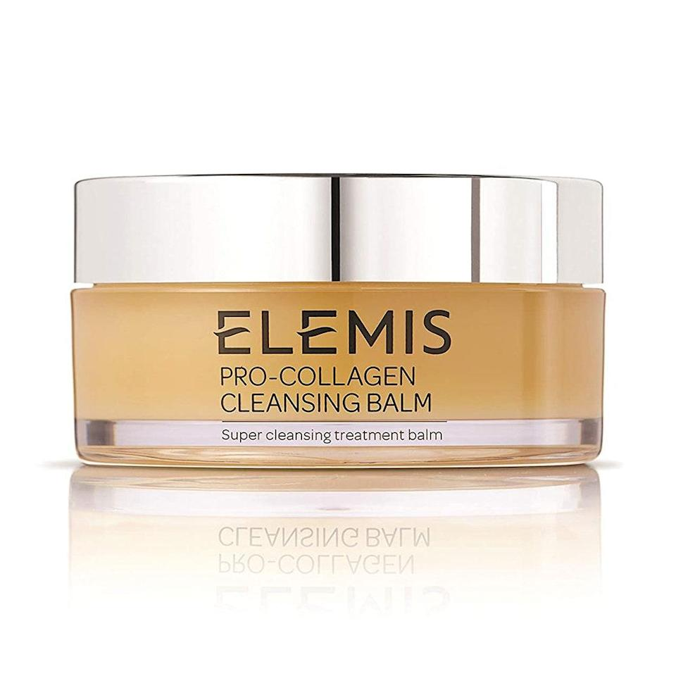 "<p>Elemis' Pro-Collagen <a href=""https://www.allure.com/gallery/best-cleansing-balms?mbid=synd_yahoo_rss"" rel=""nofollow noopener"" target=""_blank"" data-ylk=""slk:Cleansing Balm"" class=""link rapid-noclick-resp"">Cleansing Balm</a> dissolves makeup and grime in the most soothing way possible. Massage onto dry skin, taking extra time around the eyes, and you'll find that the nourishing blend of elderberry, sweet almond, and starflower oils, in combination with Mediterranean algae, will leave your skin feeling extra clean, soft, and firm. In other words, your days of sleeping with makeup on are over.</p> <p><strong>$64</strong> (<a href=""https://www.amazon.com/ELEMIS-Pro-Collagen-Cleansing-Super-Treatment/dp/B00BMR1BQC"" rel=""nofollow noopener"" target=""_blank"" data-ylk=""slk:Shop Now"" class=""link rapid-noclick-resp"">Shop Now</a>)</p>"
