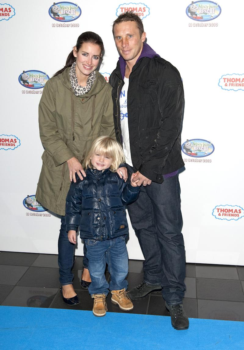 Kirsty Gallacher And Husband Paul Sampson With Oscar Blake Arriving For The Screening Of Thomas & Friends - Misty Island Rescue, At The Vue Cinema In Leicester Square, Central London. (Photo by Mark Cuthbert/UK Press via Getty Images)