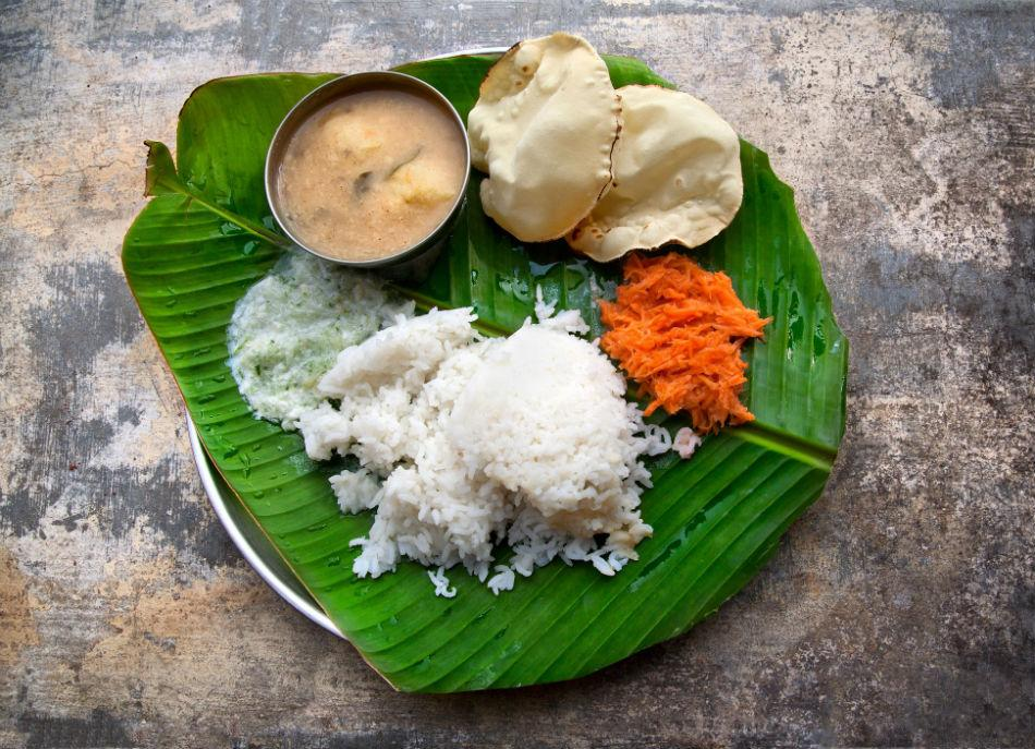 Traditional South Indian thali