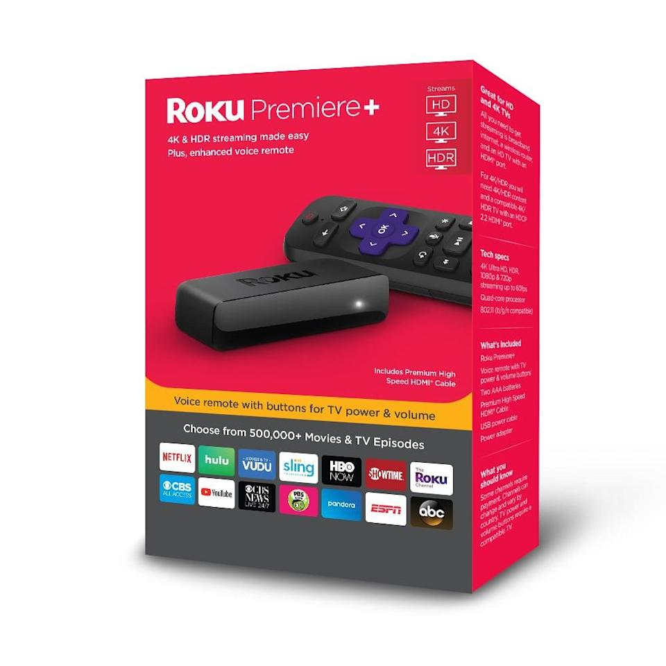 """<p>If you're ready to ditch cable, consider this <a href=""""https://www.popsugar.com/buy/Roku-Premiere-4K-HDR-Streaming-Player-408638?p_name=Roku%20Premiere%2B%204K%20HDR%20Streaming%20Player&retailer=walmart.com&pid=408638&price=45&evar1=geek%3Aus&evar9=36026397&evar98=https%3A%2F%2Fwww.popsugar.com%2Ftech%2Fphoto-gallery%2F36026397%2Fimage%2F45754711%2FRoku-Premiere-4K-HDR-Streaming-Player&list1=shopping%2Cgifts%2Cgadgets%2Cgift%20guide%2Cdigital%20life%2Cwalmart%2Ctech%20gifts%2Cgifts%20for%20men%2Chome%20shopping&prop13=mobile&pdata=1"""" class=""""link rapid-noclick-resp"""" rel=""""nofollow noopener"""" target=""""_blank"""" data-ylk=""""slk:Roku Premiere+ 4K HDR Streaming Player"""">Roku Premiere+ 4K HDR Streaming Player</a> ($45). You can access tons of apps to live stream all your favorite shows and movies.</p>"""