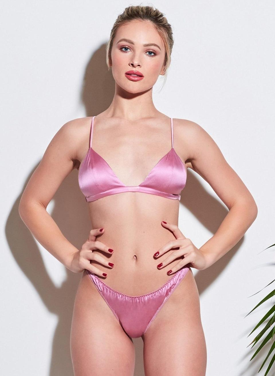 """Put a luxe spin on your everyday with this hot pink bralette that would look so on-point styled underneath <a href=""""https://www.glamour.com/story/cute-fall-outfits?mbid=synd_yahoo_rss"""" rel=""""nofollow noopener"""" target=""""_blank"""" data-ylk=""""slk:an oversized blazer"""" class=""""link rapid-noclick-resp"""">an oversized blazer</a>. It's <a href=""""https://www.instyle.com/fashion/celebrities-in-fleur-du-mal"""" rel=""""nofollow noopener"""" target=""""_blank"""" data-ylk=""""slk:a celeb must-have"""" class=""""link rapid-noclick-resp"""">a celeb must-have</a> for a reason. $98, Fleur du Mal. <a href=""""https://www.fleurdumal.com/collections/lingerie-bras-soft-cupped/products/luxe-triangle-bra-bisou"""" rel=""""nofollow noopener"""" target=""""_blank"""" data-ylk=""""slk:Get it now!"""" class=""""link rapid-noclick-resp"""">Get it now!</a>"""