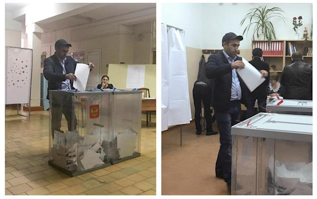 <p>A combination picture shows a voter casting a ballot at a polling station number 216 (L) and approaching a box before casting a ballot at a polling station number 217, during the presidential election in Ust-Djeguta, Russia March 18, 2018. The voter, asked by a Reuters reporter why he was voting for a second time, ignored the question and walked away. (Reuters staff) </p>