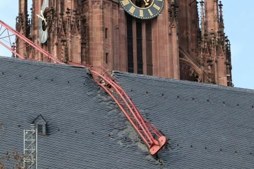 The storm brought down a crane on to the roof of Frankfurt cathedral in Germany
