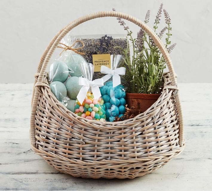 """<p><strong></strong></p><p>williams-sonoma.com</p><p><strong>$149.95</strong></p><p><a href=""""https://go.redirectingat.com?id=74968X1596630&url=https%3A%2F%2Fwww.williams-sonoma.com%2Fproducts%2Fwilliams-sonoma-pottery-barn-filled-easter-basket&sref=https%3A%2F%2Fwww.townandcountrymag.com%2Fleisure%2Fdining%2Fg18567353%2Fbest-pre-made-easter-baskets%2F"""" target=""""_blank"""">Shop Now</a></p><p>Craving a touch of luxe this Easter? This basket comes filled with a live potted lavender plant, plus lavender potpourri, egg-shaped vase fillers, chocolate covered marshmallow eggs, and jellybeans. </p>"""