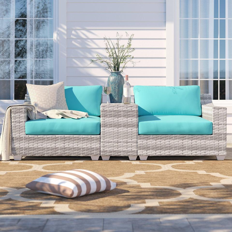<p>You can spend your summer days relaxing on this comfy <span>Falmouth Seating Group with Cushions</span> ($930, originally $1,558). Plus, it comes in a number of color choices, so you can get one to match your outdoor space.</p>