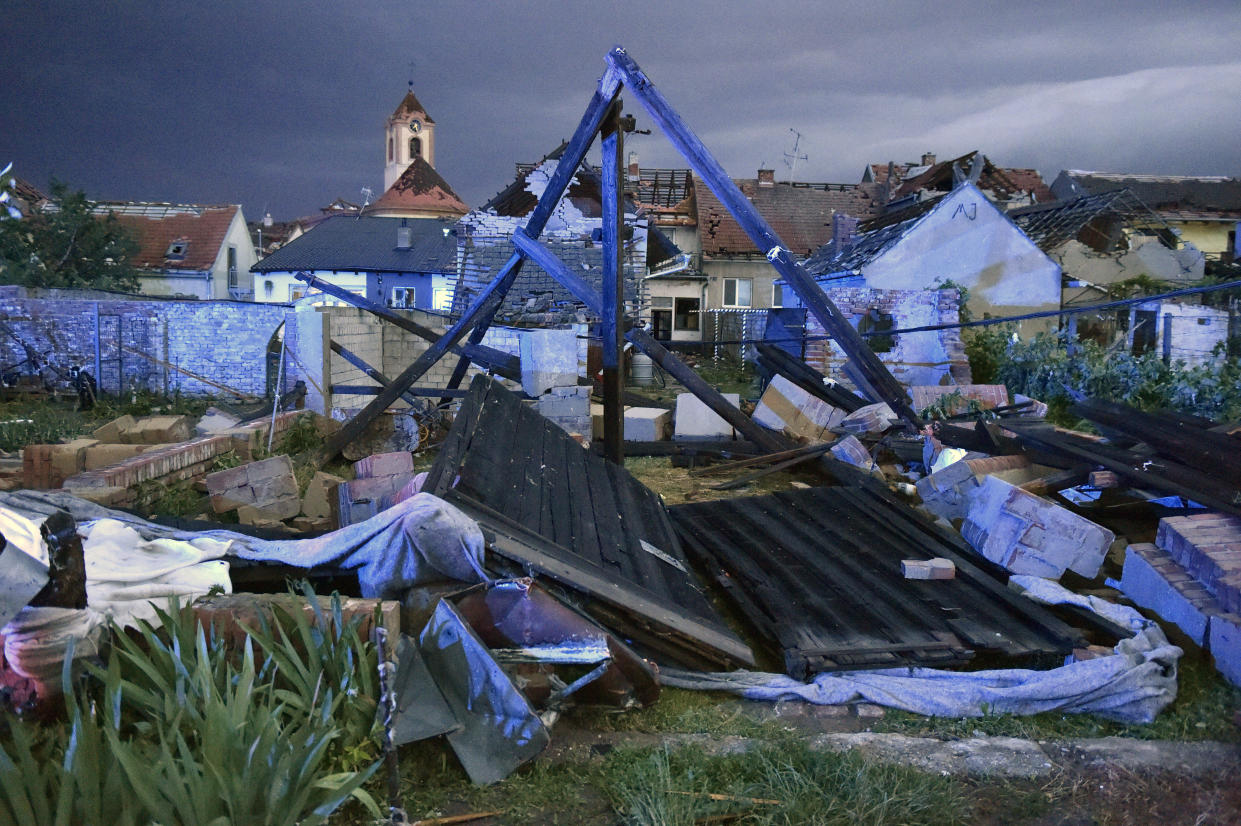 View of the wreckage after a Tornado hit the village of Moravska Nova Ves in the Hodonin district, South Moravia, Czech Republic, on Thursday, June 24, 2021. A rare tornado hit towns and villages in southeast part of the country, injuring some 150 people and damaging hundreds of houses. Some 200 police officers have been deployed in the region to help the rescue workers. (Vaclav Salek/CTK via AP)