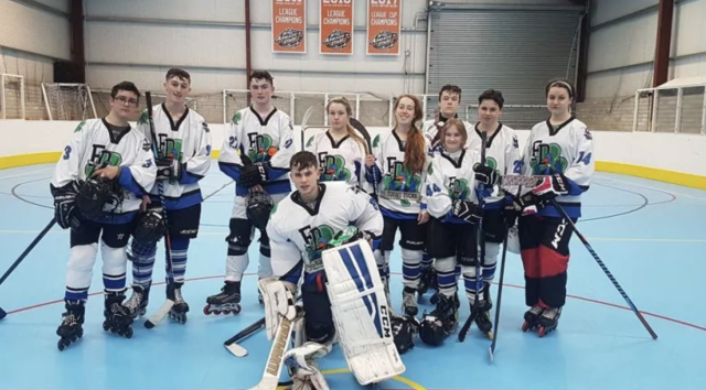 This photo shows the Irish <span>Flying Ducks ice hockey club, a team that</span> spends most of the year competing on in-line skates because they lack a permanent, year-round home to play on the ice. Photo from Aisling Daly via CBC News.