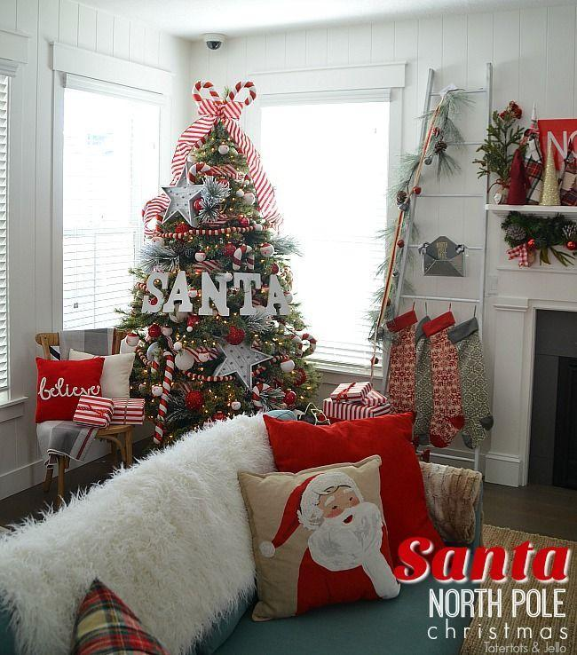 """<p>What better way to celebrate Christmas than with a tree that encompasses a couple of the holiday's biggest characteristics: Santa Claus and the North Pole?</p><p><strong><em>Get the tutorial at <a href=""""https://tatertotsandjello.com/santa-north-pole-christmas-tree-decorating-ideas/"""" rel=""""nofollow noopener"""" target=""""_blank"""" data-ylk=""""slk:Tatertots & Jello"""" class=""""link rapid-noclick-resp"""">Tatertots & Jello</a>. </em></strong></p><p><a class=""""link rapid-noclick-resp"""" href=""""https://www.amazon.com/Kurt-Adler-Glass-Buckle-Ornaments/dp/B07437THKJ/?tag=syn-yahoo-20&ascsubtag=%5Bartid%7C10070.g.2025%5Bsrc%7Cyahoo-us"""" rel=""""nofollow noopener"""" target=""""_blank"""" data-ylk=""""slk:BUY SANTA ORNAMENTS"""">BUY SANTA ORNAMENTS</a></p>"""