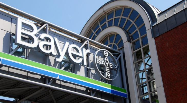 Logo of Bayer AG in Wuppertal, Germany