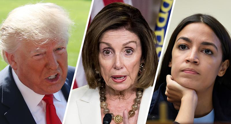 President Trump, House Speaker Nancy Pelosi and Rep. Alexandria Ocasio-Cortez, D-N.Y. (Photos: Mark Wilson/Getty Images, Bill Clark/CQ Roll Call/Getty Images, Susan Walsh/AP)