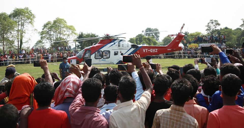 Bihar Chief Minister Nitish Kumar leaves by a helicopter after addressing an election campaign rally ahead of Bihar Assembly election on October 22, 2020 in Muzaffarpur, India. (Photo by Santosh Kumar/Hindustan Times via Getty Images)