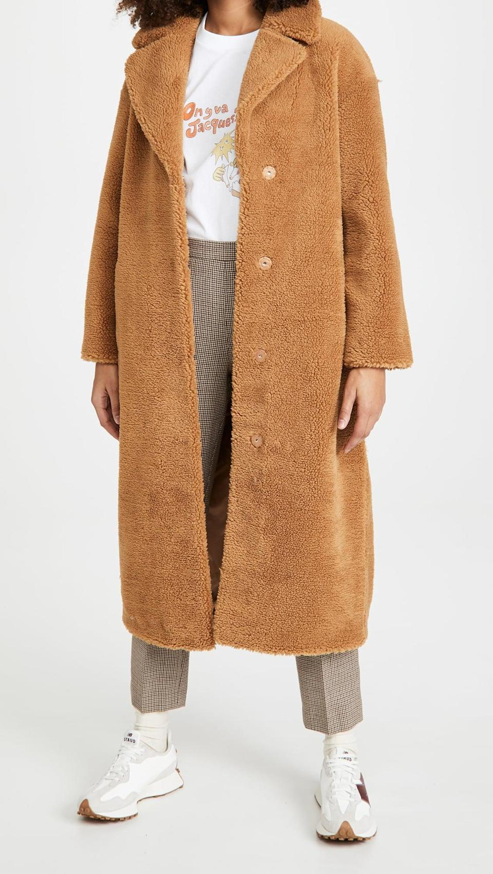 <p>We'd wrap ourselves in this cozy <span>Stand Studio Camille Long Coat</span> ($480).</p>