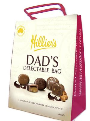 """<p>Dad's Delectable Bag from Hillier's, RRP. $18.00 is available from Big W stores nationally. <a rel=""""nofollow"""" href=""""http://shopping.yahoo.com.au/CatIn.aspx?catid=372"""">Shop for chocolate</a></p>"""