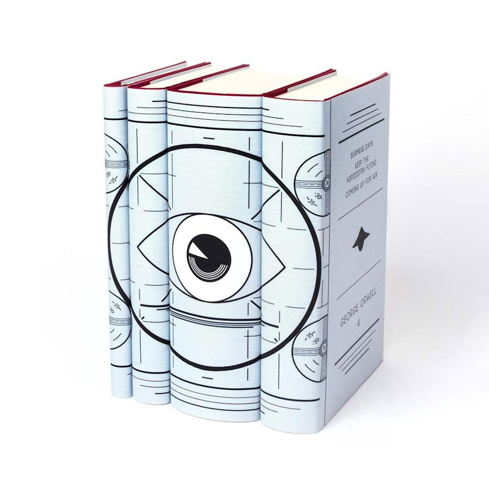 """Juniper Books is an authority on illustrated covers, and for your best friend whose been curating her own personal library, this bound collection of George Orwell books is a great addition. (Bonus points if it's for your friend disturbed by the Orwellian-esque Rose Garden briefings.) $150, Juniper Books. <a href=""""https://www.juniperbooks.com/collections/gifts-for-the-bibliophile/products/george-orwell-set"""" rel=""""nofollow noopener"""" target=""""_blank"""" data-ylk=""""slk:Get it now!"""" class=""""link rapid-noclick-resp"""">Get it now!</a>"""