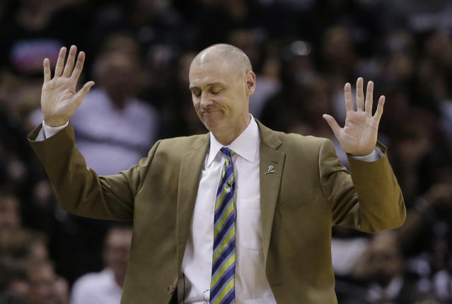 Dallas Mavericks coach Rick Carlisle throws his hands up in response to a called foul during the second half of Game 7 of the opening-round NBA basketball playoff series against the San Antonio Spurs, Sunday, May 4, 2014, in San Antonio. San Antonio won 119-96. (AP Photo/Eric Gay)