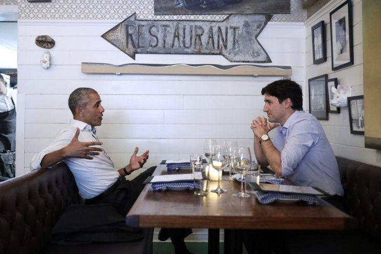 Posted by the Obama Foundation on June 6, 2017. 'Tonight in Montreal, @BarackObama and @JustinTrudeau discussed their shared commitment to developing the next generation of leaders.'